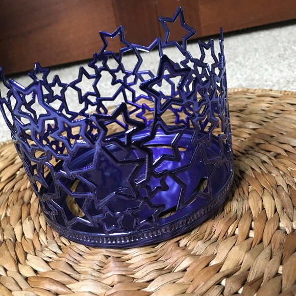 Bath and body works 3 wick candle holder blue star
